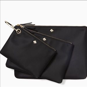 Kate Spade Dawn Triple Pouch Set Black
